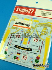 Studio27: Marking / livery 1/24 scale - Lamborghini Murcielago B-Racing #13 - Benjamin Leuenberger (CH) + Marino Franchitti (GB) + Norbert Walchhofer (AT) - GT FIA World Championship 2006 - water slide decals and assembly instructions - for Aoshima references AOSH-00710, AOSH-00717 and AOSH-00718 image