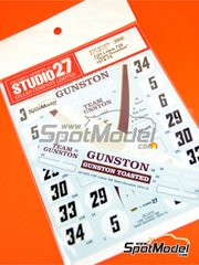 Studio27: Marking / livery 1/20 scale - Lotus Ford 72E Team Gunston #5, 6, 29, 30, 33, 34 - Paddy Driver (ZA) + Ian Scheckter (ZA) - South African Formula 1 Grand Prix 1974 and 1975 - water slide decals and assembly instructions - for Ebbro references EBR20009 and 20009