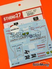 Studio27: Marking / livery 1/20 scale - Tyrrell Ford 004 Embassy #32 - Alex Blignaut (ZA), Peter Smith (GB) - South African Grand Prix 1973 and 1974 - water slide decals and assembly instructions - for Ebbro reference EBR20007 image