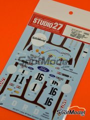 Studio27: Marking 1/20 scale - Lotus Ford Type 49 Team Gunston #1, 16 - John Love (ZW) - South African Grand Prix 1968, 1969 - water slide decals and assembly instructions - for Ebbro kit EBR20004