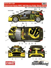 Studio27: Decoración escala 1/24 - Ford Fiesta WRC Monster Energy Nº 46 - Valentino Rossi (IT) - Monza Rally Show 2014 - calcas de agua y manual de instrucciones - para la referencia de Belkits BEL-003