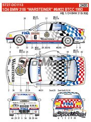 Studio27: Marking / livery 1/24 scale - BMW 318i Warsteiner Fina #6, 22 - Steve Soper (GB), Joachim Winkelhock (DE) - British Touring Car Championship - BTCC 1993 - water slide decals and assembly instructions - for Hasegawa references 20269 and 20270