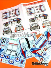 Studio27: Decals 1/24 scale - Lancia Super Delta Deltona HF Integrale Martini #1 ,2, 4, 5, 6 - Juha Kankkunen (FI) + Juha Piironen (FI), Didier Auriol (FR) + Bernard Occelli (FR) - Acropolis rally, 1000 Lakes Finland Rally, Portugal Rally, Safari Rally 1992 - for Hasegawa references 25015, HACR13 and HACR15