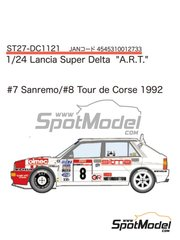 Studio27: Decals 1/24 scale - Lancia Super Delta Deltona HF Integrale A.R.T. #7, 8 - Piero Liatti (IT) + Luciano Tedeschini (IT) - Sanremo Rally, Tour de Corse 1992 - for Hasegawa kits 25015, HACR13 and HACR15