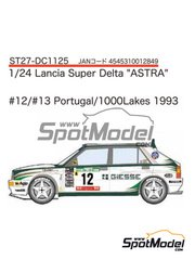 Studio27: Decals 1/24 scale - Lancia Super Delta Deltona HF Integrale ASTRA #12, 13 - Vittorio Brambilla (IT) + A. Fiorio (IT) - 1000 Lakes Finland Rally, Portugal Rally 1993 - for Hasegawa kits 25015, HACR13 and HACR15