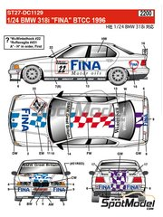 Studio27: Marking 1/24 scale - BMW 318i Fina #21, 22 - Joachim Winkelhock (DE), Roberto Ravaglia (IT) - British Touring Car Championship - BTCC 1996 - water slide decals and assembly instructions - for Hasegawa kits 20269 and 20270