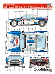 Studio27: Marking / livery 1/24 scale - Lancia 037 Rally RACC Bendix España #12 - Salvador Serviá (ES) + Jordi Sabater (ES) - Montecarlo Rally 1986 - water slide decals and assembly instructions - for Hasegawa references 20264, 20277, 20299, 25030 and HACR30 image