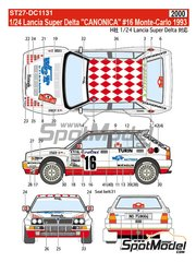 Studio27: Decals 1/24 scale - Lancia Super Delta Deltona HF Integrale Canonica #16 - Montecarlo Rally 1993 - for Hasegawa kits 25015, HACR13 and HACR15