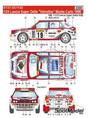 Studio27: Decals 1/24 scale - Lancia Super Delta Deltona HF Integrale Valvoline #19 - Daniel Ducruet (FR) + Freddy Delorme (FR) - Montecarlo Rally 1996 - for Hasegawa kits 25015, HACR13 and HACR15