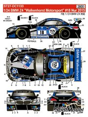Studio27: Marking / livery 1/24 scale - BMW Z4 GT3 Walkenhorst Mortorsport #18 - Henry Walkenhorst (DE) + Ralf Oeverhaus (DE) + Stefan Aust (DE) + Christian Bollrath (DE) - 24 Hours Nürburgring 2015 - water slide decals and assembly instructions - for Fujimi references FJ125565, FJ125688, FJ125930 and FJ126081 image
