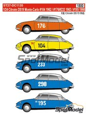 Studio27: Decals 1/24 scale - Citroën DS19 #104, 176, 233, 298, 195 - Montecarlo Rally - Rallye Automobile de Monte-Carlo 1959, 1962, 1963, 1964 and 1966 - for Ebbro references EBR25005 and 25005