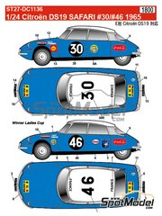 Studio27: Marking / livery 1/24 scale - Citroën DS19 #30, 46 - Safari Rally 1965 - water slide decals and assembly instructions - for Ebbro reference EBR25005