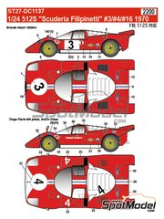 Studio27: Marking / livery 1/24 scale - Ferrari 512S Scuderia Filipinetti #3, 4, 16 - 1000 Kms Brands Hatch, 24 Hours Le Mans, Targa Florio 1970 - water slide decals and assembly instructions - for Fujimi references FJ12385, FJ123851 and 123851