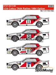 Studio27: Marking / livery 1/24 scale - Toyota TA64 Celica Rank Xerox #2, 8, 11 - Björn Waldegård (SE) + Hans Thorszelius (SE), Juha Kankkunen (FI) + Fred Gallagher (IE), Per Eklund (SE) + Dave Whitlock (GB) - RAC Rally, 1000 Lakes Finland Rally, New Zealand rally, Portugal Rally 1984 - water slide decals and assembly instructions - for Beemax Model Kits references B24004 and B24011