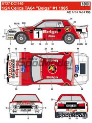 Studio27: Decals 1/24 scale - Toyota TA64 Celica Belga #1 - Juha Kankkunen (FI) + Fred Gallagher (IE) - Haspengow Rally 1985 - for Beemax Model Kits references B24004 and B24011