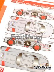 Studio27: Marking / livery 1/24 scale - Mercedes-Benz 300SL Lyco Engineering, Inc. #658 - Bob Sirna (US) - Bonneville Speedway 2003, 2004 - water slide decals and assembly instructions - for Tamiya kit TAM24338