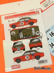 Studio27: Marking / livery 1/24 scale - Ford Escort RS1600 Mk I Alan Mann Racing #16, 34 1968 - water slide decals - for Belkits references BEL006 and BEL007