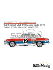 Studio27: Marking / livery 1/24 scale - Ford Escort RS1600 Mk I Colt Pepsi #19 - Timo Mäkinen (FI) + Henry Liddon (GB) - Montecarlo Rally 1972 - water slide decals and assembly instructions - for Belkits kits BEL006 and BEL007