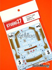 Studio27: Marking 1/24 scale - BMW M3 E30 Hilton #3 - Roberto Ravaglia (IT) - Macau Grand Prix 1987 - water slide decals and assembly instructions - for Beemax Model Kits kit B24007
