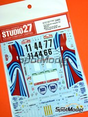 Studio27: Marking / livery 1/24 scale - Lancia Delta HF Integrale 16v Martini #1, 4, 6, 7 - Bernard Occelli (FR) + Didier Auriol (FR), Juha Piironen (FI) + Juha Kankkunen (FI), Tiziano Siviero (IT) + Massimo 'Miki' Biasion (IT) - Montecarlo Rally, Portugal Rally 1990 - water slide decals and assembly instructions - for Hasegawa references 20289, 25208 and HACR08 image