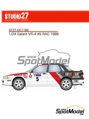 Studio27: Marking / livery 1/24 scale - Mitsubishi Galant VR-4 Ralli Art #5 - Great Britain RAC Rally 1988 - water slide decals and assembly instructions - for Hasegawa reference 20288