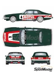 Studio27: Marking / livery 1/24 scale - Jaguar XJ-S Motul Akai #3, 4 - Tom Walkinshaw (GB) + Chuck Nicholson (GB), Pete Lovett (GB) + Pierre Dieudonne (BE) - Tourist Trophy 1982 - water slide decals and assembly instructions - for Hasegawa kit 20305