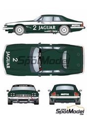 Studio27: Marking / livery 1/24 scale - Jaguar XJ-S Motul #2, 3 - Win Percy (GB) + Chuck Nicholson (GB) - Donington 500 Kilometres 1984 - water slide decals and assembly instructions - for Hasegawa kit 20305