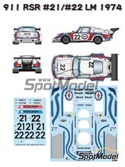 Studio27: Decoración escala 1/24 - Porsche 911 Carrera RSR Turbo Martini International Racing Team Nº 21, 22 - Gijs van Lennep (NL) + Herbert Müller (CH), Helmuth Koinigg (AT) + Manfred Schurti (LI) - 24 Horas de Le Mans 1974 - calcas de agua, manual de instrucciones e instrucciones de pintado - para las referencias de Fujimi FJ12648, FJ126487, RS-23, 126487, FUJ12648, FJ126494, 126494 y RS-99, o las referencias de Model Factory Hiro MH-L-4, MFH-L-4, MFH24PRSR y X004