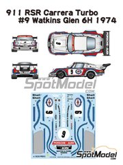 Studio27: Marking / livery 1/24 scale - Porsche 911 Carrera RSR Turbo Martini Rossi Porsche Audi #9 - Gijs van Lennep (NL) + Herbert Müller (CH) - Watkins Glen 6 Hours 1974 - water slide decals, assembly instructions and painting instructions - for Fujimi references FJ12648 and FJ12649, or Model Factory Hiro reference MH-L-4