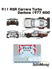 Studio27: Marking / livery 1/24 scale - Porsche 911 Carrera RSR Turbo Interscope Racing #00 - Danny Ongais (US) + George Follmer (US) + Ted Field (US) - 24 Hours Daytona 1977 - water slide decals, assembly instructions and painting instructions - for Fujimi references FJ12648, FJ12648 and FJ12649, or Model Factory Hiro references MH-L-4 and MH-L-4