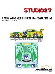Studio27: Marking / livery 1/24 scale - Mercedes Benz AMG GT3 HTP Motorsport Mann Filter #75 - 24 Hours Nürburgring 2016 - water slide decals and assembly instructions - for Tamiya reference TAM24345