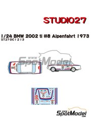 Studio27: Marking / livery 1/24 scale - BMW 2002 tii Castrol #8 - Achim Warmbold (DE) + Jean Todt (FR) - Österreichische Alpenfahrt 1973 - water slide decals and assembly instructions - for Hasegawa reference 20332