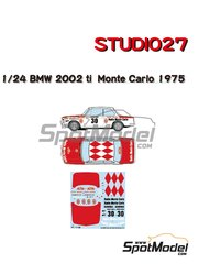 Studio27: Marking / livery 1/24 scale - BMW 2002 tii Radio Monte Carlo - Ecurie Alpes S'Geniez #30 - Christian  Dorche (FR) + Pierre Gertosio (FR) - Montecarlo Rally 1975 - water slide decals and assembly instructions - for Hasegawa reference 20332
