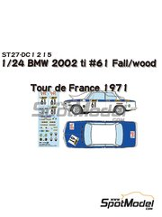Studio27: Decoración escala 1/24 - BMW 2002 tii BMW AG München Nº 61 - Tony Fall  (GB) + Wood Mike (GB) - Tour de France Automobile 1971 - calcas de agua y manual de instrucciones - para la referencia de Hasegawa 20332