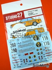 Studio27: Marking / livery 1/24 scale - BMW 2002 tii RSC Wolfenbüttel #260 - Kirchhoff Dieter (DE) + Helmut Raue (DE) - Olympia Rally 1973 - water slide decals and assembly instructions - for Hasegawa references 20332, 21123 and HC-23