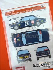 Studio27: Decoración escala 1/24 - BMW 2002 tii BP Nº 26 - Claude Ballot-Léna (FR) + Jean-Claude Morénas (FR) - Rally de Montecarlo 1971 - calcas de agua y manual de instrucciones - para las referencias de Hasegawa 20332, 21123 y HC-23