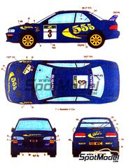 Studio27: Decals 1/24 scale - Subaru Impreza WRC 555 Smoking kills #3, 4 - Colin McRae (GB) + Nicky Grist (GB), Kenneth Eriksson (SE) + Staffan Parmander (SE) - Australian Rally 1997