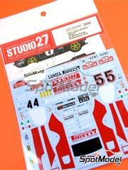 Studio27: Marking / livery 1/24 scale - Lancia Stratos HF Pirelli #4, 5 - Markku Alén (FI) + Ilkka Kivimäki (FI), Fulvio Bacchelli (IT) + Arnaldo Bernacchini (IT) - Montecarlo Rally, Sanremo Rally 1978 - water slide decals and assembly instructions - for Hasegawa references 20217, 20261, 20268, 20282, 25032, HACR32 and HACR33, or Italeri reference 3654