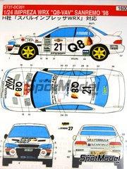 Studio27: Decals 1/24 scale - Subaru Impreza WRX NAV Q8 ERC - Sanremo Rally 1998