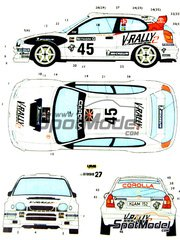Studio27: Decals 1/24 scale - Toyota Corolla WRC #45 - Martin Brundle (GB) + Arne Hertz (SE) - Great Britain RAC Rally 1999