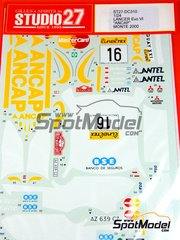 Studio27: Decals 1/24 scale - Mitsubishi Lancer Evo VI Ancap - Gustavo Trelles (UY) + Jorge del Buono (AR) - Montecarlo Rally 2000