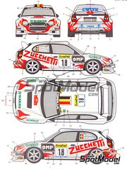 Studio27: Decals 1/24 scale - Toyota Corolla WRC Zucchetti #18 - Bruno Thiry (BE) + Stéphane Prévot (BE) - Montecarlo Rally 2000