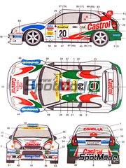 Studio27: Decals 1/24 scale - Toyota Corolla WRC Castrol #19, 20 - Oliver Burri (CH) + Christophe Hofmann (CH), Henrick Lundgaard (DK) + Jens-Christian Anker (DK) - Montecarlo Rally 2000