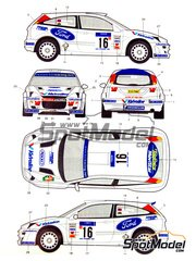 Studio27: Decals 1/24 scale - Ford Focus WRC Valvoline #16 - Petter Solberg (NO) + Phil Mills (GB) - New Zealand rally 2000