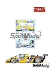 Studio27: Decoración escala 1/24 - Toyota 88C taka-Q Nº 37 - 24 Horas de Le Mans 1988 - calcas de agua y manual de instrucciones - para las referencias de Hasegawa 20236 , CC02, CC-02, CC-2 y CC-5