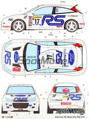 Studio27: Decals 1/24 scale - Ford Focus WRC RS #17 - Francois Delecour (FR) + Daniel Grataloup (FR) - Montecarlo Rally 2001