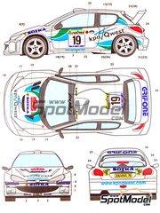 Studio27: Decals 1/24 scale - Peugeot 206 Gardemeister #19 - Paavo Lukander (FI) + Toni Gardemeister (FI) - Montecarlo Rally 2001 - for Tamiya reference TAM24267