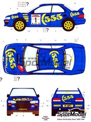 Studio27: Marking / livery 1/24 scale - Subaru Impreza WRX 555 #1, 2, 3 - Colin McRae (GB) + Derek Ringer (GB), Kenneth Eriksson (SE) + Staffan Parmander (SE), Piero Liatti (IT) + Fabrizia Pons (IT) - Sanremo Rally 1996 - water slide decals and assembly instructions - for Hasegawa kit 25063