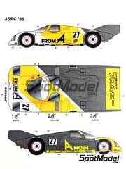 Studio27: Marking / livery 1/24 scale - Porsche 962 From A #27 - Tadayuki 'Taddy' Okada (JP), Thackwell, Asai - Japan GT Championship JGTC 1986 and 1987 - water slide decals and assembly instructions - for Tamiya references TAM24233 and TAM24313