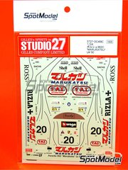 Studio27: Decoración escala 1/24 - Porsche 962 Marukatsu FAT International Nº 20 - Tim Lee-Davey (GB) + Giovanni Lavaggi (IT) - 24 Horas de Le Mans 1990 - calcas de agua y manual de instrucciones - para kits de Tamiya TAM24233 y TAM24313